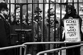 London 1984 Union members from GCHQ protest at Downing Street, Day of Action in support of their union rights after the Goverment ban on membership - NLA - 23-02-1984