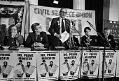 Len Murray TUC speaking London 1984 GCHQ and other union members at a rally, Day of Action in support of union rights at GCHQ (2nd R) Alistair Graham CPSA - Peter Arkell - 14-02-1984
