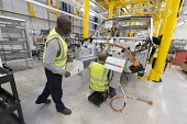 LEVC London EV Company electric Taxi factory, Coventry - John Harris - 2010s,2018,Ansty,assembly,auto,automated,AUTOMATIC,automation,automotive,Automotive Industry,BAME,BAMEs,Black,Black and White,Black Cab,black cabs,BME,bmes,cab,cabs,Car Industry,car worker,car workers