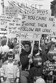 Campaign to free George Davis, jailed for robbery, his wife Rose Davis at the front, protest 1975 London. The Campaign became famous under the slogan George Davis is Innocent OK - NLA - 04-05-1975