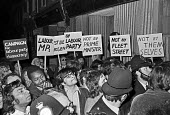 Deselection of Reg Prentice MP 1975. Campaign for Labour Party Democracy placards Newham North East constituency Labour Party, london - NLA - 1970s,1975,Asian,Asians,BAME,BAMEs,Black,Black and White,BME,bmes,Democracy,deselected,deselecting,deselection,diversity,ethnic,ethnicity,Labour Party,london,male,man,men,minorities,minority,multi cul
