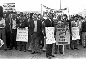 Wigan building workers supporting shipyard workers at Cammell Laird shipyard, Birkenhead, 1975 demanding the release of the Shrewsbury pickets from prison - NLA - 1970s,1975,activist,activists,banner,banners,building,building site,BUILDINGS,CAMPAIGNING,CAMPAIGNS,capitalism,Construction Industry,DEMONSTRATING,Demonstration,DISPUTE,disputes,Industrial dispute,Ind