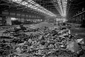 Demolition begins of Brux Ltd Jarrow 1975 after parent company Tube Investments closed the factory - Peter Arkell - 1970s,1975,AUEW,British Steel,Brux Limited,BSC,capitalism,capitalist,close,closed,closing,closing down,closure,closures,company,deindustrialisation,deindustrialization,demolish,DEMOLISHED,demolishing,