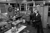 Workers occupy Plessey factory, Swindon 1974 in a pay dispute. Playing darts - Martin Mayer - 11-12-1974