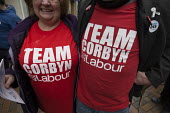Team Corbyn t-shirts, NHS in Crisis - Fix it Now protest, Gloucester - John Harris - 2010s,2018,activist,activists,against,CAMPAIGN,campaigner,campaigners,CAMPAIGNING,CAMPAIGNS,Crisis,DEMONSTRATING,Demonstration,DEMONSTRATIONS,FEMALE,Jeremy Corbyn,Labour Party,Left,left wing,Leftwing,