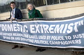Jenny Jones, Green Party, Domestic Extremist Day protest against state spying and disruption of political organisations outside New Scotland Yard, Embankment, London - Jess Hurd - 2010s,2018,activist,activists,adult,adults,against,banner,banners,campaign,campaigning,CAMPAIGNS,civil rights,Counter Terrorism,covert,database,DEMONSTRATING,demonstration,Domestic,Domestic Extremist,