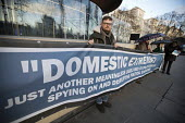 Domestic Extremist Day protest against state spying and disruption of political organisations outside New Scotland Yard, Embankment, London - Jess Hurd - 2010s,2018,activist,activists,against,banner,banners,CAMPAIGNING,CAMPAIGNS,civil rights,database,DEMONSTRATING,demonstration,Domestic,Domestic Extremist,Domestic Extremist Day,Embankment,London,New Sc