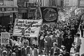 Anti Nazi League protest against the National Front, Brick Lane, East London 1978 - NLA - 1970s,1978,activist,activists,against,ANL,Anti Fascist,Anti Nazi League,Anti Racism,anti racist,BAME,BAMEs,Black,Black and White,BME,bmes,Brick Lane,CAMPAIGNING,CAMPAIGNS,DEMONSTRATING,demonstration,d