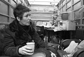 Goerge Davis is Innocent campaign 1975. Rose Davis, his wife, at a vigil in a van parked outside Scotland Yard to highlight the miscarriage of justice when her husband was jailed for an armed robbery... - NLA - 1970s,1975,activist,activists,armed,campaign,campaigning,CAMPAIGNS,cities,City,DEMONSTRATING,Demonstration,FEMALE,George Davis,Goerge Davis is Innocent,Goerge Davis is Innocent OK,husband,justice,misc