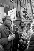 Charles Clarke NUS, Pat Arrowsmith (R) outside the 1975 trial of British Withdrawal from Northern Ireland Campaign pacifists who had distributed a leafet at Army Barracks Some Information for Disconte... - NLA - 1970s,1975,activist,activists,armed forces,army,Bill Hetherington,British Withdrawal from Northern Iraland Campaign,BWNIC,CAMPAIGN,campaigner,campaigners,CAMPAIGNING,CAMPAIGNS,case,Charles Clarke,citi