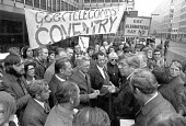 GEC and Plessey Coventry workers lobby against redundancies, DTI, London 1975 - NLA - 1970s,1975,activist,activists,against,ASTMS,AUEW,banner,banners,CAMPAIGNING,CAMPAIGNS,cities,City,communicating,communication,conversation,conversations,DEMONSTRATING,Demonstration,dialogue,discourse,