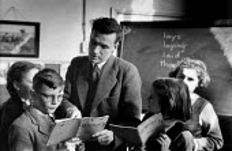 Teacher and pupils, Maths lesson, Secondary school London 1949 - Elisabeth Chat - 1940s,1949,arithmetic,assisting,blackboard,BLACKBOARDS,book,books,boy,boys,child,CHILDHOOD,children,cities,City,class,classroom,classrooms,communicating,communication,conversation,conversations,dialog
