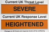 Current UK Threat Level Severe, Current UK Response Level Heightened, warning sign, Bristol Fire Station - John Harris - 15-06-2017