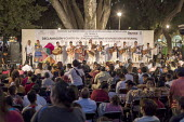 Oaxaca, Mexico, Mixtec group performed the Cancion Mixteca. Indigenous community celebrating The International Day of The Mother Tongue. The day is dedicated to the protection of native languages arou... - Jim West - 20-02-2018