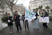 NUJ member supporting UCU university lecturers pensions dispute strike, Queen Mary University of London, East London - Jess Hurd - 26-02-2018