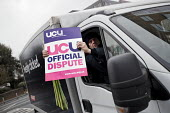 TESCO delivery driver supporting UCU university lecturers strike in a pensions dispute, Queen Mary University of London, East London. - Jess Hurd - 2010s,2018,DELIVERING,delivery,dispute,disputes,driver,drivers,DRIVING,East,FEMALE,industrial dispute,London,male,man,member,member members,members,men,pension,pensions,people,person,persons,picket,pi