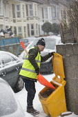 Community snow warden clearing snow from the streets, Bristol - Paul Box - 01-03-2018