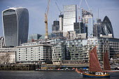 Thames Sailing Barge, The Walkie-Talkie building and The City, London - Jess Hurd - 20 Fenchurch Street,2010s,2018,ACE,architecture,Arts,Bank,Banks,Barge,blocks,boat,boats,building,buildings,capitalism,capitalist,cities,City,City of London,Culture,estuaries,estuary,finance,FINANCIAL,