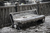 Filthy, frozen bench seat due to a burst water main, Globe Town, East London - Jess Hurd - 03-03-2018