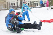 Sledging in St Andrews Park, Bristol - Paul Box - 2010s,2018,age,ageing population,animal,animals,canine,cities,city,CLIMATE,conditions,dog,dogs,elderly,enjoy,enjoying,enjoyment,excited,excitement,exciting,freezing,frozen,having fun,hill,hills,ice,ic