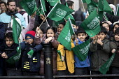 School children welcoming Saudi Prince Mohammed Bin Salman outside Buckingham Palace where he was to lunch with the Queen. The pupils are from The King Fahad Academy School, London - Jess Hurd - 07-03-2018