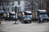 Trucks welcoming Saudi Prince Mohammed Bin Salman during a visit to Downing Street. London - Jess Hurd - 2010s,2018,cities,City,Crown Prince of Saudi Arabia,London,POL,political,POLITICIAN,POLITICIANS,Politics,Prince Mohammed Bin Salman,Saudi,Saudi Arabia,Saudi Arabian,Saudi Arabians,state,transport,tran