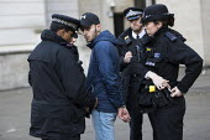 Police arresting Bahrain activist, Protest against Saudi Prince Mohammed Bin Salman, Downing Street, London - Jess Hurd - 07-03-2018