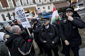 Anti fascist protest outside a secret meeting of Jobbik, a far right Hungarian political party, South Kensington, London - Jess Hurd - 2010s,2018,activist,activists,adult,adults,against,anti,Anti fascist,arrival,arrivals,arrive,arrived,arrives,arriving,CAMPAIGN,campaigner,campaigners,CAMPAIGNING,CAMPAIGNS,CLJ,DEMONSTRATING,demonstrat