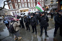 Anti fascist protest outside a secret meeting of Jobbik, a far right Hungarian political party, South Kensington, London - Jess Hurd - 2010s,2018,activist,activists,adult,adults,against,anti,Anti fascist,CAMPAIGN,campaigner,campaigners,CAMPAIGNING,CAMPAIGNS,CLJ,DEMONSTRATING,demonstration,DEMONSTRATIONS,far right,far right,fascism,Fa