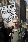 Childrens author and lecturer Mike Rosen on his first strike. UCU university lecturers pensions strike, London - Jess Hurd - 14-03-2018