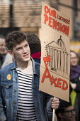 Student supporting UCU university lecturers pensions strike protest, London - Jess Hurd - 14-03-2018