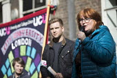 Elaine Heffernan speaking, UCU university lecturers pensions strike, London - Jess Hurd - 14-03-2018