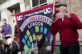 Poet Chip Hamer supporting UCU university lecturers pensions strike, London - Jess Hurd - 14-03-2018