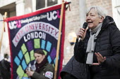 Candy Udwin PCS speaking UCU university lecturers pensions strike, London - Jess Hurd - 2010s,2018,activist,activists,banner,banners,CAMPAIGN,campaigner,campaigners,CAMPAIGNING,CAMPAIGNS,Candy Udwin,dispute,disputes,FEMALE,Industrial dispute,lecturers,London,member,member members,members
