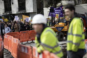 Construction workers stop to watch UCU university lecturers pensions strike protest, London - Jess Hurd - 2010s,2018,activist,activists,builder,builders,Building Worker,CAMPAIGN,campaigner,campaigners,CAMPAIGNING,CAMPAIGNS,Construction Industry,Construction Workers,DEMONSTRATING,Demonstration,DEMONSTRATIO