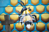 Bee graffiti by Annatomix in a graveyard, Tower Hamlets Cemetry Park, Mile End, East London - Jess Hurd - 14-03-2018