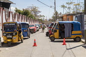 Cuilapam de Guerrero, Oaxaca, Mexico Three wheeled city taxis made by the Indian company Tata Motors - Jim West - 23-02-2018