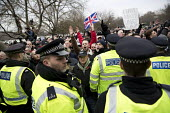 Football Lads Alliance and supporters of Tommy Robinson protest against far right speakers being refused entry to the UK, Speakers Corne, Hyde Park, London. Robinson read a speech written by fellow fa... - Jess Hurd - 2010s,2018,activist,activists,adult,adults,against,ban,banned,banning,bigotry,Black Kemet group,CAMPAIGN,campaigner,campaigners,CAMPAIGNING,CAMPAIGNS,CLJ,DEMONSTRATING,demonstration,DEMONSTRATIONS,Dia