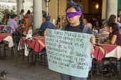 Mexico, Blindfolded women protesting against the sexual exploitation of Minors, Central Square, Oaxaca - Jim West - 24-02-2018