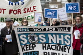 GPs and patients protest against GP at Hand, an online NHS service taking money away from local GP surgeries. Chrisp Street, Poplar, Tower Hamlets, East London - Jess Hurd - 29-03-2018