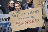 Protest by East London GPs and patients against GP at Hand, an online NHS service taking money away from local GP surgeries. Chrisp Street, Poplar, Tower Hamlets. - Jess Hurd - 29-03-2018