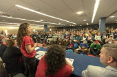 Chicago, USA Labor Notes conference, West Virginia teachers speaking of their successful statewide strike to three thousand union activists attending the biannual meeting. Labor Notes is an organizati... - Jim West - 06-04-2018