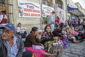 Oaxaca, Mexico Mixe ethnic sit in on the street outside the Oaxaca state government palace, demanding a meeting with the governor about housing and other projects to benefit their region - Jim West - 20-02-2018
