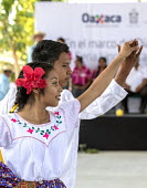 San Juan Teitipac, Oaxaca, Mexico Youth performing at a Zapotec Heritage Fair celebrating the culture of the region - Jim West - 2010s,2018,ACE,adolescence,adolescent,adolescents,adult,adults,apparel,Arts,BAME,BAMEs,BME,bmes,carnival,Carnivals,CELEBRATE,celebrating,celebration,celebrations,clothes,clothing,color,colorful,colorf