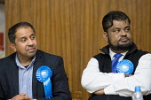 Hustings with Conservative, Labour, Liberal Democrats and Green local election candidates for two of the council wards, Camden, London. Shamin Ahmed (L) Mohammed Salim (R) - Philip Wolmuth - 09-04-2018