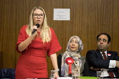 Labour Councillor Lorna Russell speaking, Hustings with Conservative, Labour, Liberal Democrats and Green local election candidates for 2 of the 18 council wards, Camden, London. Nazma Rahman (C), Pet... - Philip Wolmuth - 09-04-2018