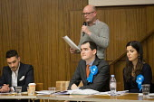 Phillip Taylor, Conservative speaking, Hustings with Conservative, Labour, Liberal Democrats and Green local election candidates for 2 of the 18 council wards, Camden, London. David Brescia (C) Sedef... - Philip Wolmuth - 09-04-2018