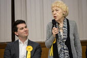 Flick Rea (R) Liberal Democrats speaking Hustings with Conservative, Labour, Liberal Democrats and Green local election candidates for 2 of the 18 council wards, Camden, London - Philip Wolmuth - 09-04-2018