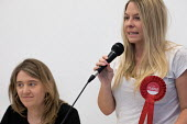 Councillor Lorna Russell and Georgia Gould, Camden Council leader. Camden Labour Party manifesto launch, May local government elections, London - Philip Wolmuth - 2010s,2018,campaign,campaigning,CAMPAIGNS,candidate,candidates,council,COUNCILER,COUNCILERS,Councillor,COUNCILLORS,democracy,election,elections,FEMALE,government,husting,hustings,Labour Party,launch,l
