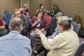 Chicago, USA Labor Notes conference Johanna Parker translating from English to Spanish for Spanish speakers attending a workshop during biannual conference with three thousand union activists attendin... - Jim West - 08-04-2018